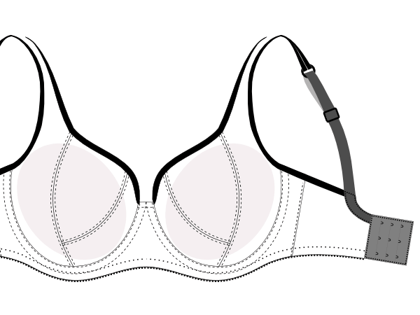 Bra Pattern DL02-2 for larger sizes from Make Bra Online Shop